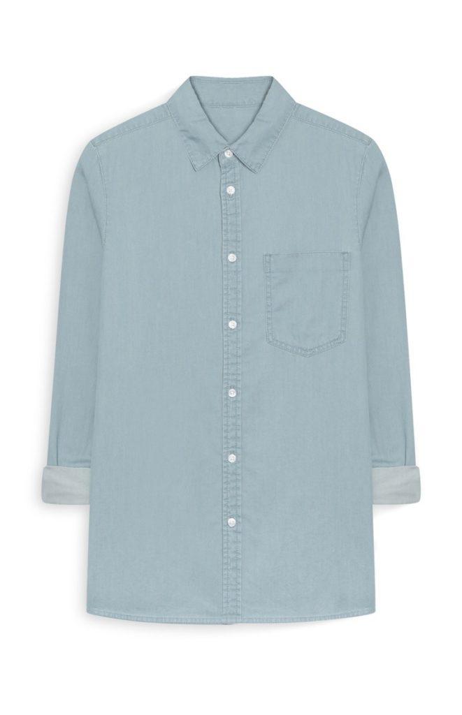 Camisa vaquera extragrande azul lavado