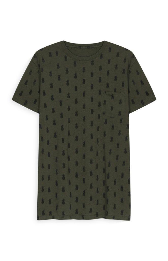 Camiseta con estampado de piña color caqui
