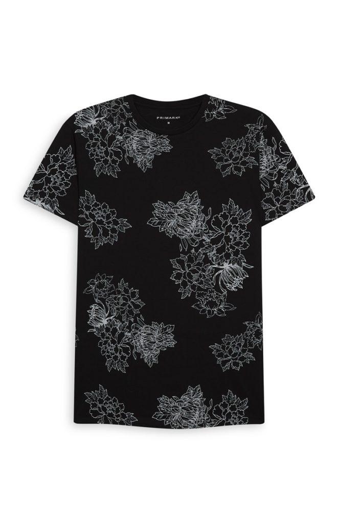 Camiseta con estampado floral negro