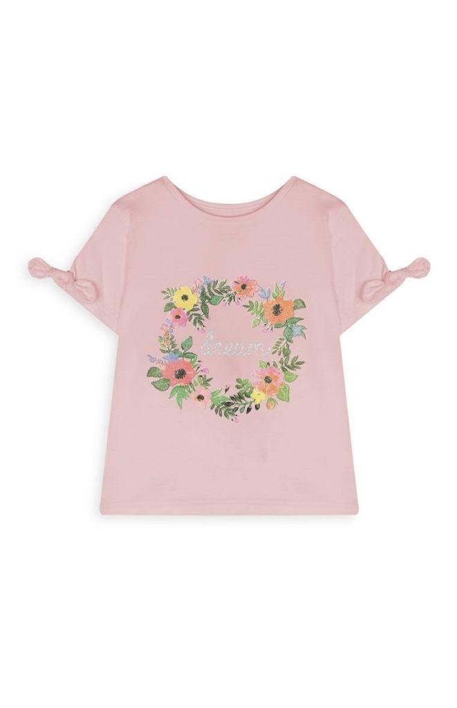 Camiseta con estampado floral para niñas