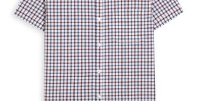 Camiseta de manga corta roja a cuadros