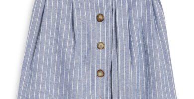 Falda de lino a rayas