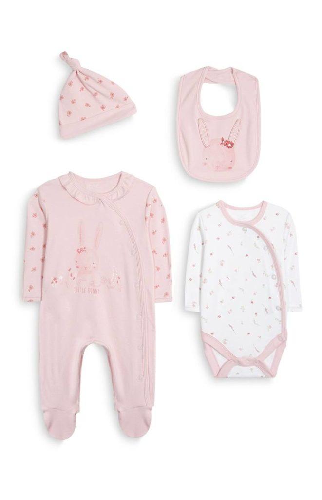 Pack de 2 conjuntos rosados para recién nacida