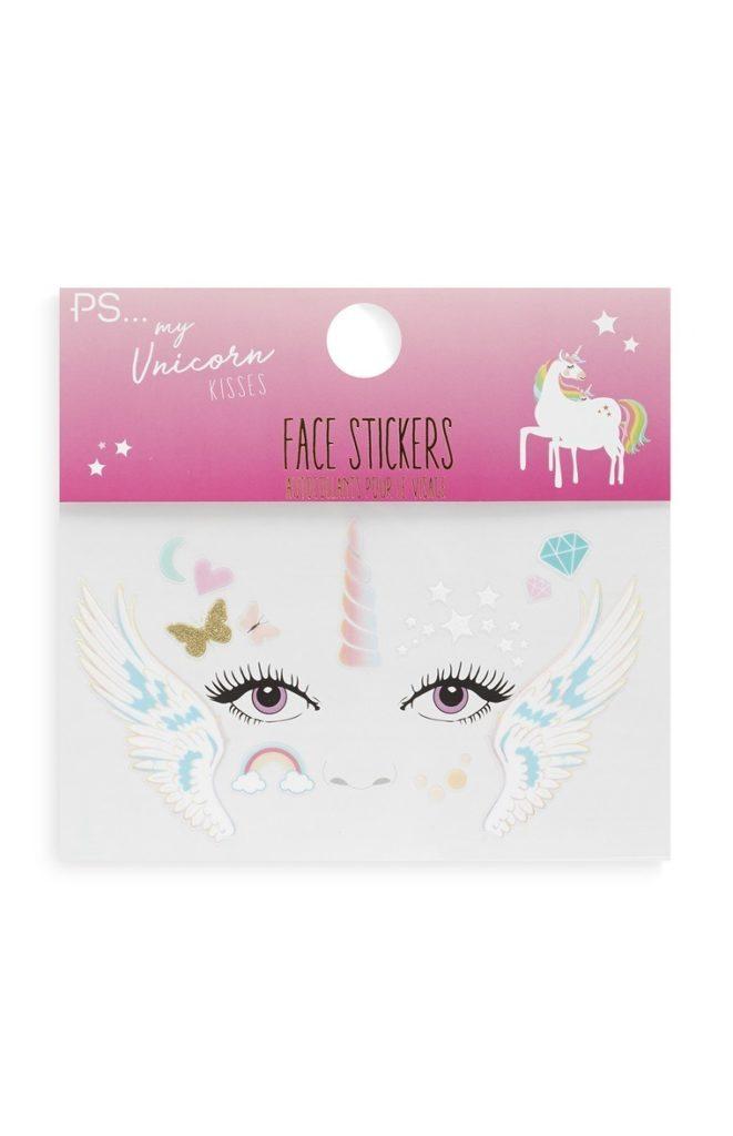 Pegatinas faciales de unicornio
