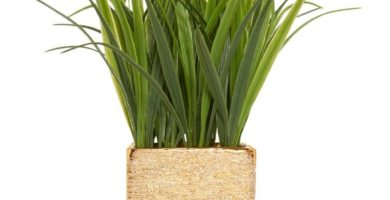 Planta artificial de maceta dorada