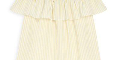 Top amarillo a rayas con escote barco
