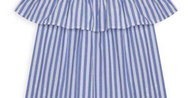 Top azul a rayas con escote barco