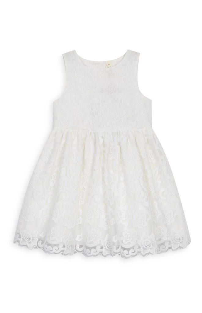 Vestido de encaje blanco marfil