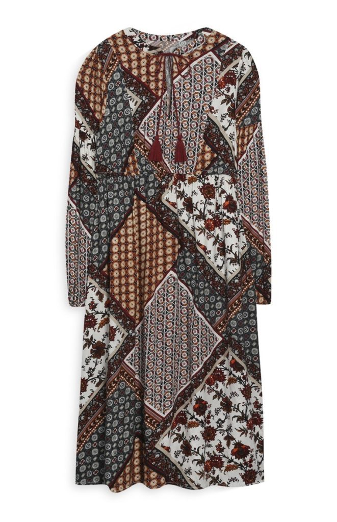 Vestido marrón de patchwork