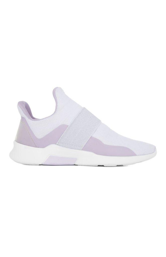 Zapatillas bajas sin cordones en blanco y lila