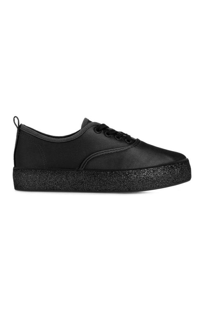Zapatillas negras plataforma brillante