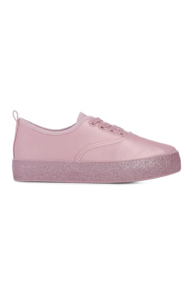 Zapatillas rosadas con plataforma escarchadas