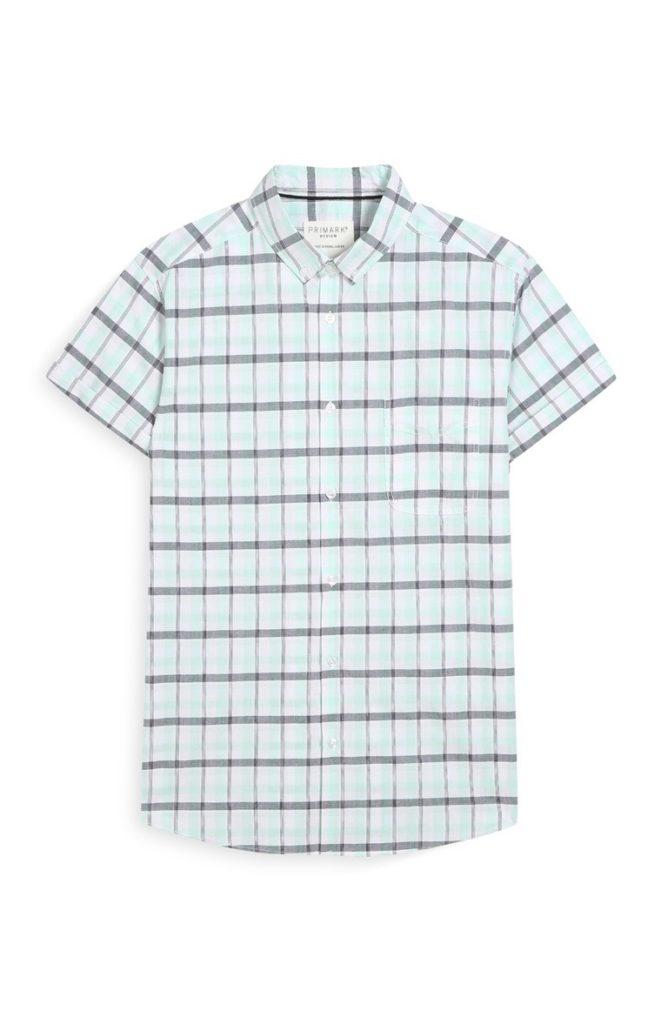Camisa de manga corta verde a cuadros