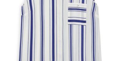 Camisa sin mangas azul y marfil