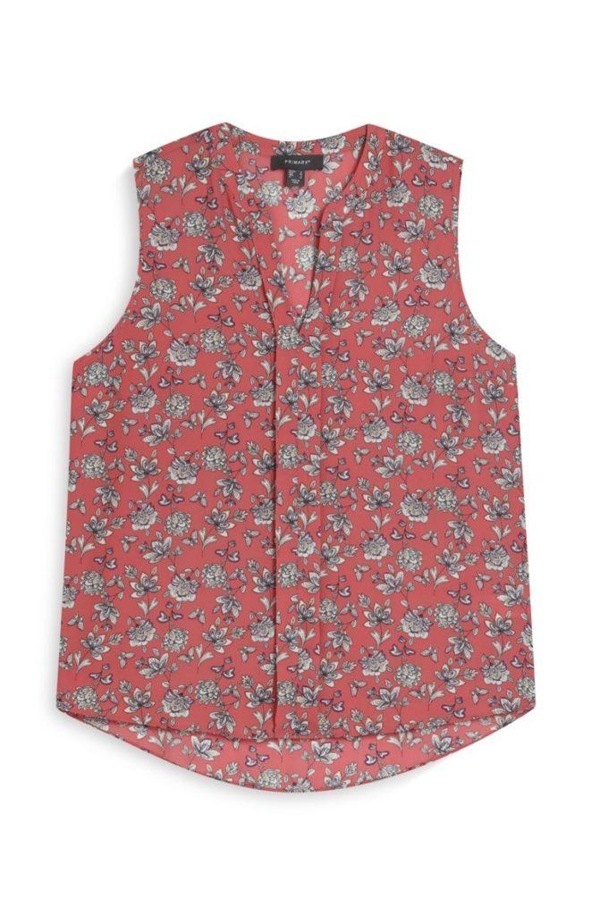 Camisa sin mangas coral estampado floral