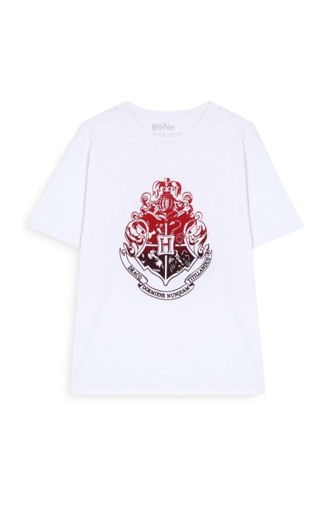 Camiseta blanca con estampado «Hogwarts»