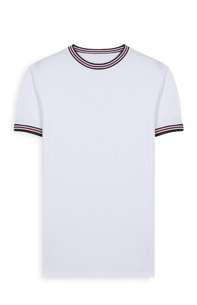 Camiseta blanca con ribetes