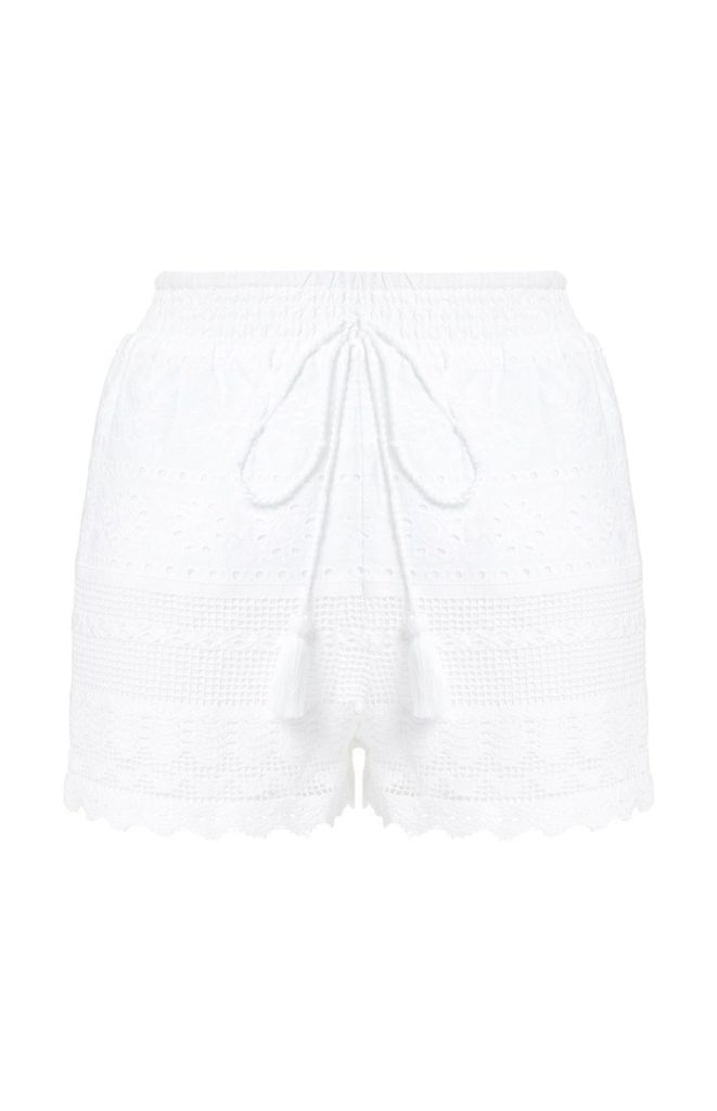 Pantalón corto de crochet blanco