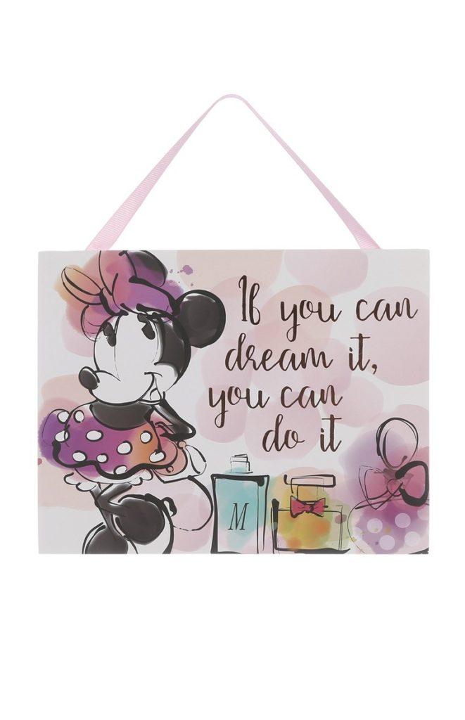 Placa con eslogan de Minnie Mouse