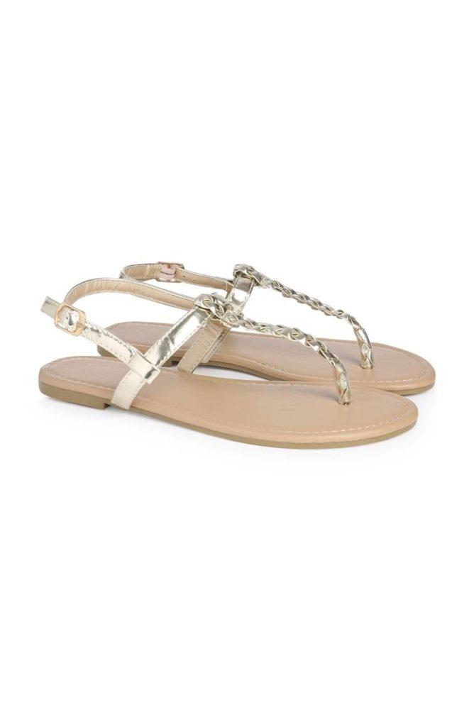 Sandalias doradas para niña mayor