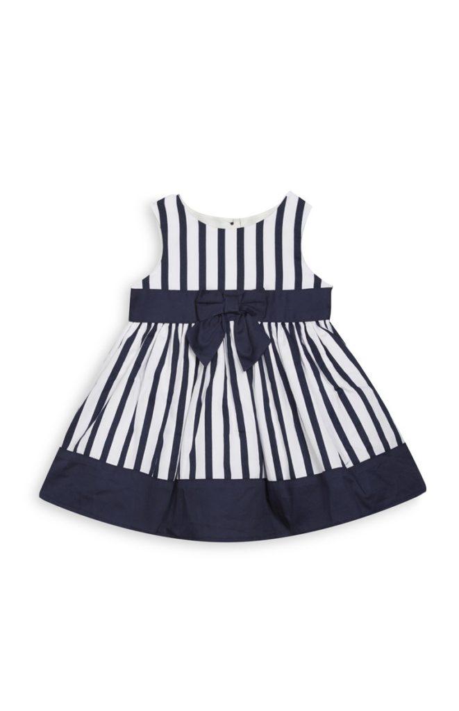 Vestido a rayas con estampado de bebé