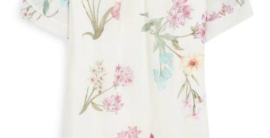 Vestido marfil con estampado floral